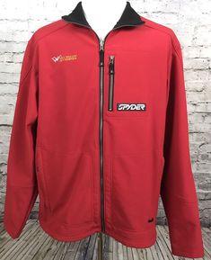 ac834ab92b Spyder Shell Fleece Lined Jacket Mens XL Red Vail Valley Jet Center