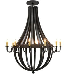 72 Inch W Barrel Stave Metallo 12 Lt ChandelierRugid rustic charm blends with gothic beauty. Inspired by Antique Wooden staves traditionally bound by woodenor me Tiffany Chandelier, Chandelier For Sale, Modern Chandelier, Chandelier Lighting, Chandeliers, Wooden Staff, Wine Cask, Style Empire, Empire Chandelier