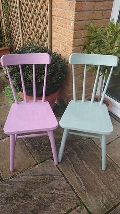 A pair of pine chairs hand painted Annie Sloan Duck Egg & Henrietta- shabby chic