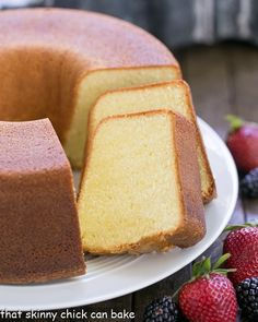 The Best Pound Cake   Dense, yet tender and delicious! Perfect topped with berries and cream!