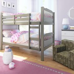 Features:  -Safety guard rail on the top bunk bed.  -Sauganash collection.  -Material: Asian rubberwood.  -Ladder included.  -Traditional slat design headboard and footboard.  -Recycled Content: No.