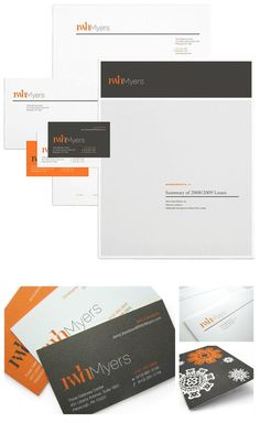 "#Stationery system. Company=RWH Insights. Designers=Drew Larson and Kim Knoll. Nice contrast. I like the use of white space in the ""w."""
