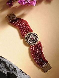 Buy Ruby and Polki Gold Bracelet Online at Jaypore.com Bangle Bracelets, Bracelet Watch, Bangles, Shopping Coupons, Bling, Jewels, Stylish, Gold, Stuff To Buy