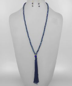 Tassel Necklace with Earrings Set {Navy/Gold}