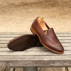 The Loafer in Medium Brown Pebble Grain Leather with Dark Brown Painted Calf | eBay
