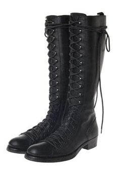 WOMENS TALL LACE UP KNEE HIGH MILITARY BOOTS | Love! | Pinterest