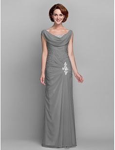 Sheath / Column Cowl Neck Floor Length Chiffon Mother of the Bride Dress with Beading Buttons Crystal Detailing Side Draping Criss Cross