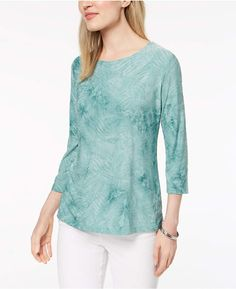 6d08a6c81f4 JM Collection Tie-Dyed Embellished Jacquard Top