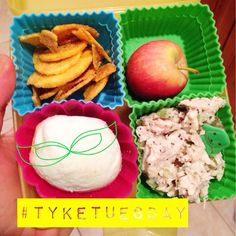 #tyketuesday  today the kids got: mini apples from Sprouts, plantain chips, ck salad & hard boiled egg! I could use a handful of those chips!! #kidspproved #kidlunch #paleo #jerf #keepitpaleo #wholefood #apple #farmfresh #egg #grainfree #glutanfree #dairyfree K