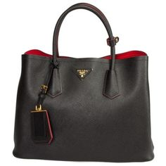 Prada Saffiano Leather Double Shoulder Handbag | Overstock.com Shopping - The Best Deals on Designer Handbags