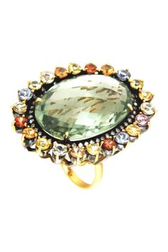 14K yellow gold and silver pave diamond halo assorted stone accented amethyst ring.