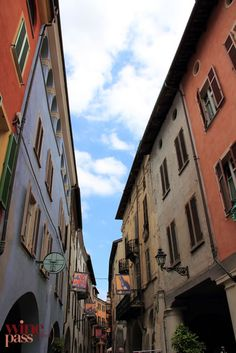 Colorful buildings in the Rione district of Dogliani. Langhe, province of Cuneo, region of Piedmont, Italy