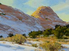 """""""Winter Sandstone"""" 12x16 in.   30x40 cm. oil, painted on location in southern Utah. (private collection)"""
