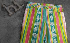 Lilly Pulitzer Pants Denim Green Blue Yellow Stripes Sea Shells Size 16 Stretch #LillyPulitzer #CasualPants