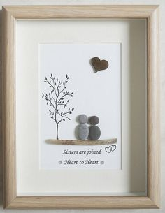 This is a beautiful small Pebble Art framed Picture of Sisters - Sisters are joined Heart to Heart handmade by myself using Pebbles, Driftwood and Wooden Heart Size of Picture incl Frame : approx. 22cm x 17cm Thanks for looking Doris Facebook: https://facebook.com/Pebbleartbyjewlls4u Product Code: P - Green