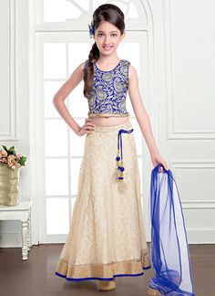 Vivid Cream And Blue Jacquard Designer Kids Lehenga Choli