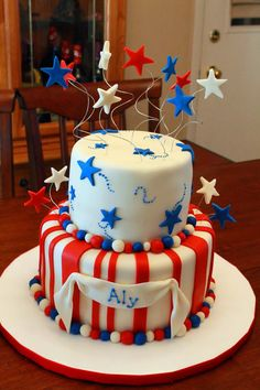 July birthday, girl first birthday, birthday parties, birthdays 4th Of July Cake, 4th Of July Desserts, Summer Desserts, Fourth Of July, Boy First Birthday, 4th Birthday Parties, 1st Birthday Girls, Birthday Ideas, American Pie