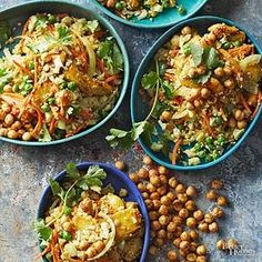Versatile veggies among Indian cauliflower fried rice. Substitute shredded yellow squash or zucchini for the carrots and/or cut green beans for the peas.