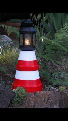 Cute idea to repurpose flower pots. We've got terra cotta pots @ Curiosity Shop, Irving. www.curiosityshoptx.com. #Irving #UsedFurniture, #Repurposed, #Garden