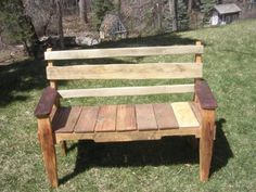 Bench hand-crafted from reclaimed oak pallets