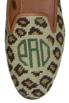 Monogrammed Needlepoint Shoes - Leopard ($239)