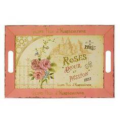 Bandeja de Melamina Roses Amour et Passion Rosa (Grande) - Presentes Criativos