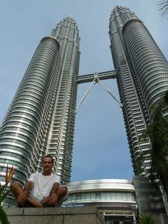 Chillin in front of the Petronas Towers in Kuala Lumpur, Malaysia. The world's tallest twin towers.