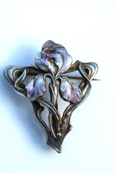 Antique Art Nouveau Jugendstil 800 Silver Enamel by Yourgreatfinds
