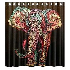 Colorful Elephant Christmas Shower Curtain Waterproof Fabric Bathroom Shower Curtain With Curtain Hooks Rings