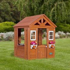 Outdoor Wooden Playhouse Kids Backyard Cedar Cottage Childrens Pretend Toy House #OutdoorPlayhouseCollection #backyardplayhouse
