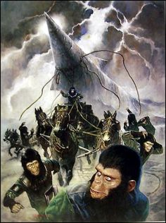 Everything about the mighty PLANET OF THE APES saga, from the original novel, via the classic films of the and right up to the 2011 reboot. Plant Of The Apes, Science Fiction Books, Sci Fi Movies, Original Movie, Illustrations, Cultura Pop, To Infinity And Beyond, Sci Fi Fantasy, Classic Films