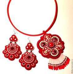 """Купить """"Лада"""" комплект сутажных украшений - ярко-красный, сутажный кулон, сутажные серьги"""