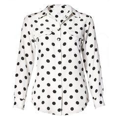 Equipment Slim Signature in Polka Dot ❤ liked on Polyvore featuring tops, blouses, shirts, blusas, t-shirts, polka dots, slim shirt, long sleeve silk shirt, long sleeve silk blouse and silk shirt