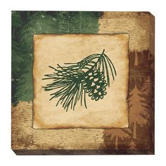 Pinecone Silhouette Wrapped Canvas Wall Art