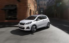 Download wallpapers Peugeot 108, 2018, compact hatchback, exterior, 4 doors, new white 108, French cars, Peugeot