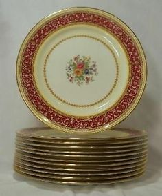 "PARAGON china CORINTHIAN MAROON pattern G1438 Set of 12 Dinner Plates - 10 1/2"""