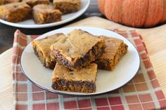 Pumpkin Chocolate Chip Bars on twopeasandtheirpod.com Everyone loves this recipe!