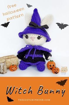 Witch Bunny, a free crochet Halloween Pattern, designed by @thecozychipmunk Halloween Crochet Patterns, Easy Crochet Patterns, Crochet Patterns Amigurumi, Amigurumi Doll, Doll Patterns, Crochet Toys, Free Crochet, Crocheted Animals, Tsumtsum