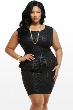Rose Bouquet Plus Size Peplum Dress