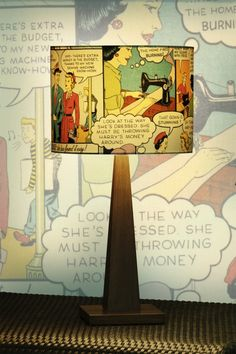 Comic book lamp shade https://www.facebook.com/MyJunkArta and http://www.kates-olde-world.com/