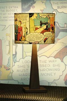 Comic book lamp shade https://www.facebook.com/MyJunkArta and http://www.kates-olde-world.com/