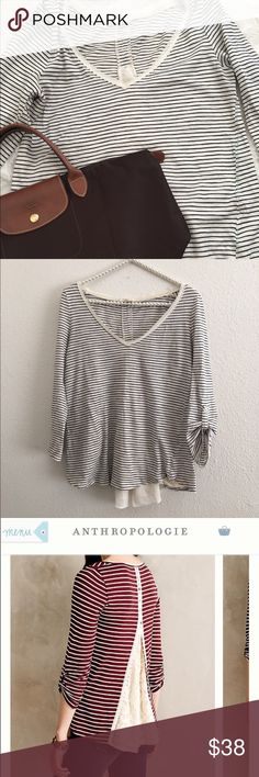 Anthropologie striped scoop-neck shirt Very cute striped shirt with adorable details. Gently used and has minor piling. This would be perfect with jeans and boots. 🔴 please no trades. Use the offer button 🔴 Anthropologie Tops Tees - Long Sleeve