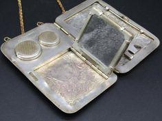 Antique: Coin Vintage Antique German Silver Coin Money Clip Purse Compact W/Mirror Art Nouveau