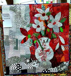 "flower vase collage red quilt Freddy Moran (Reminds me of my own ""White Poppies."")"