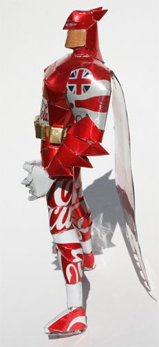 Batman was made by Bob Penikas from special London 2012 Olympic Games Coca Cola cans!