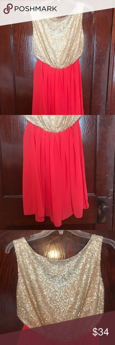 Super cute Francesca's dress Gold sequin top with fruit punch colored skirt  Worn once  Sz:m Francesca's Collections Dresses