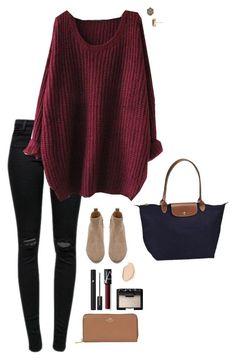 """""""Sweater weather"""" by halledaniella ❤ liked on Polyvore featuring Kendra Scott, J Brand, Witchery, Dermablend, Lancôme, NARS Cosmetics, Longchamp and Coach"""