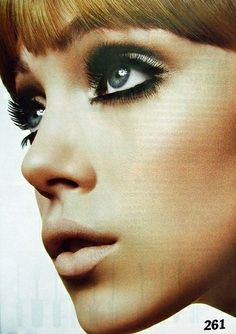 60's makeup-- whitish blue shadow going all the way across