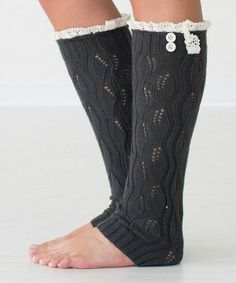 Look what I found on #zulily! Dark Gray Lilly Leg Warmers by PeekABootSocks #zulilyfinds