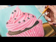 Pink Sweet Cupcake - Acrylic painting / Homemade Illustration (4k) - YouTube